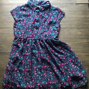 Girls Faded Glory Floral Blue Dress 6-6X